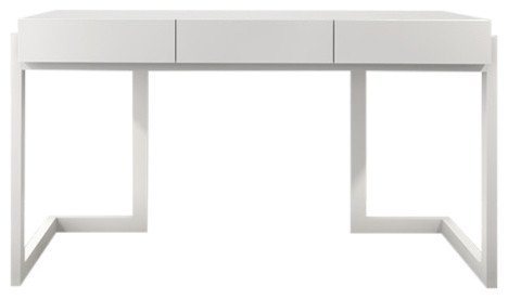 "56"" Contemporary Writing Desk In A Textured Matte White Finish.."