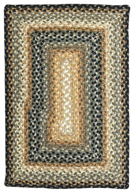 Homespice Decor Cocoa Bean Cotton Braided Rug, Black, 8&x27;x10&x27;, Rectangle.