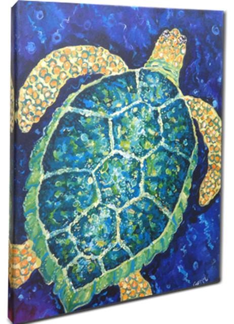 "Sea Turtle Canvas Art, 16x20"""