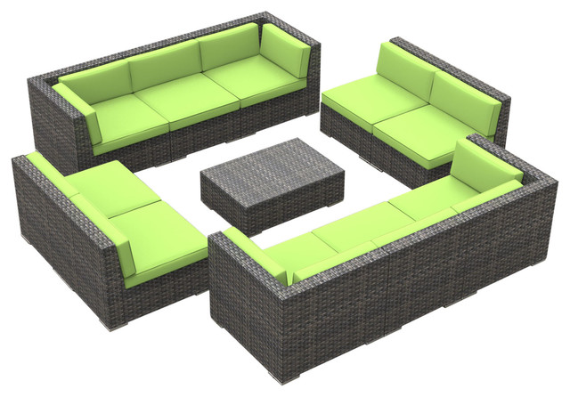 Bermuda Outdoor Patio Furniture Sofa Sectional, 11-Piece Set, Lime Green