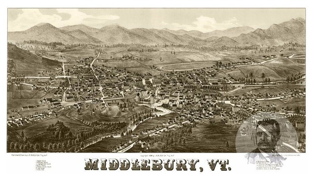 Old Victorian Industrial VT Map 1890 Historic Vermont Art Vintage Brandon
