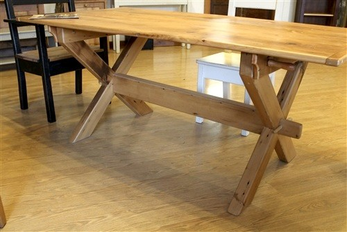 X Cross Trestle Base Table Farmhouse