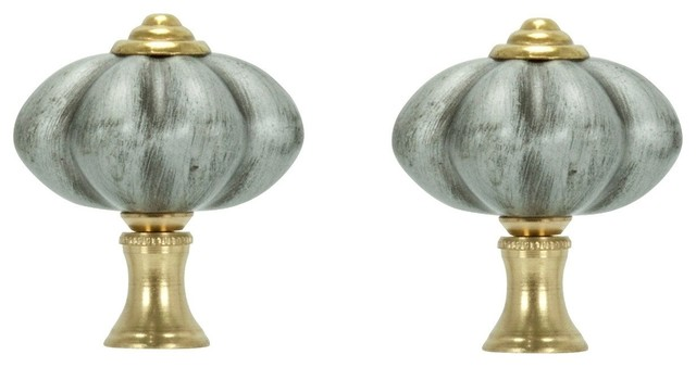 Pair of Brushed Nickel FInials and Chain Pull With Gold ...