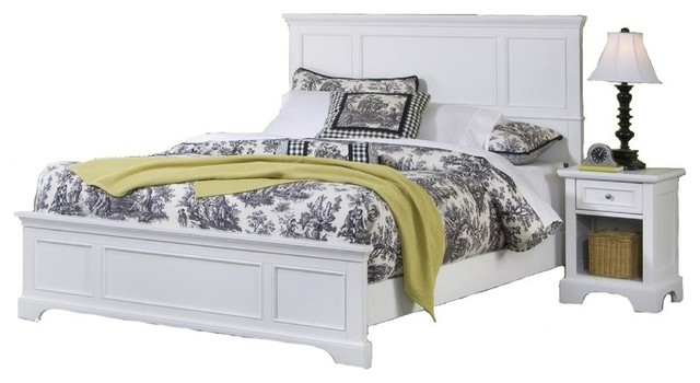 naples white queen bed and nightstand transitional