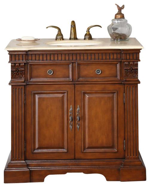 36 In. Lavinia Single Sink Bathroom Vanity In Cherry (cream Marfil Marble Stone).