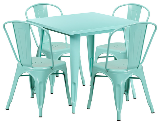 31.5&x27;&x27; Square Metal Indoor Table Set With 4 Stack Chairs, Mint.