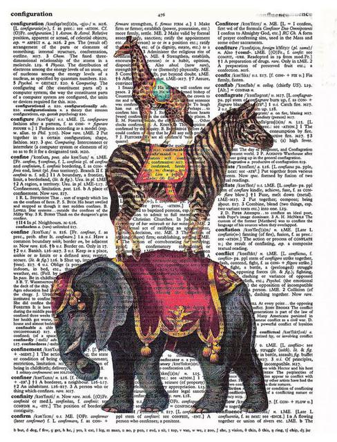 Art N Wordz Stacked Circus Animals Original Dictionary Sheet Pop Art Print