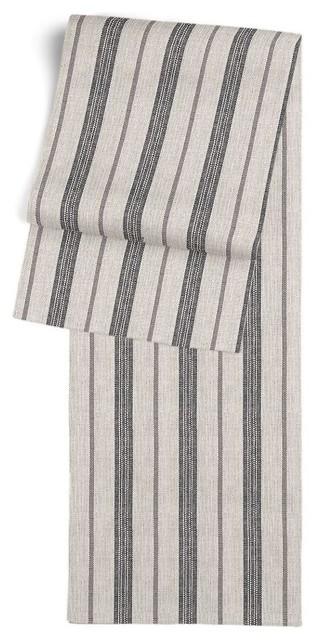 Dark Gray Striped Linen Table Runner Traditional Table Runners
