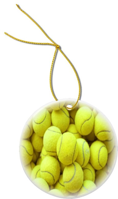 Tennis Ball Background Design Round Porcelain Christmas Ornament