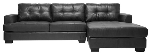 Groovy Baxton Studio Dobson Black Leather Modern Sectional Sofa Gmtry Best Dining Table And Chair Ideas Images Gmtryco