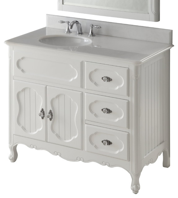 42 Victorian Cottage Style White Knoxville Bathroom Sink Vanity Transitional Bathroom