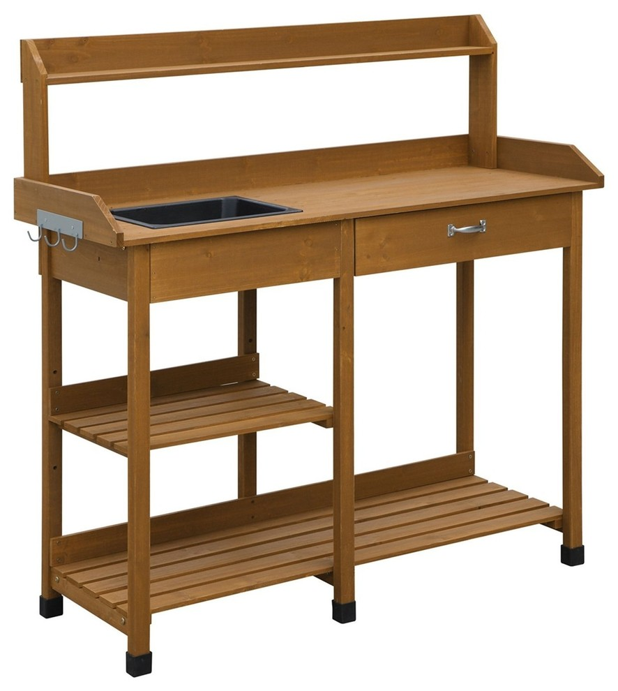 Modern Garden Potting Bench Table With Sink Storage Shelves & Drawer