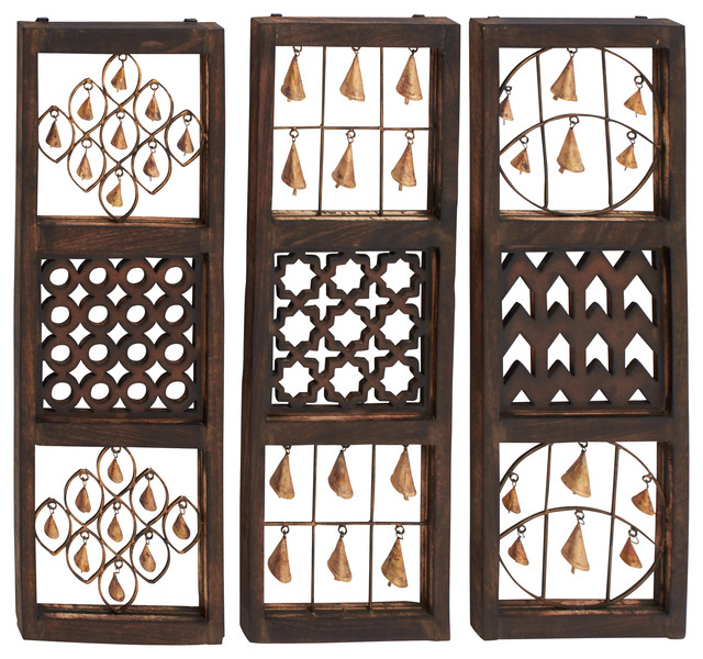 Calima Bird Wall Decor   Set Of 3 : Unique wood bell wall panel set of traditional
