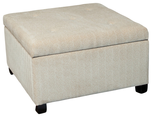 Wilshire Beige Fabric Storage Ottoman Contemporary