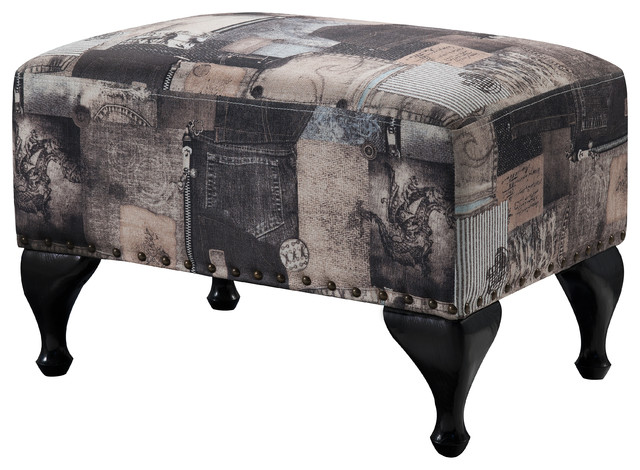 pilaster designs multi black fabric upholstered footstool ottoman footstools and ottomans houzz
