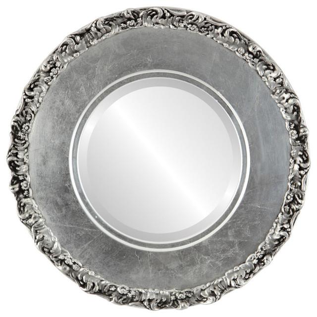 Williamsburg Framed Round Mirror In Silver Leaf With Black
