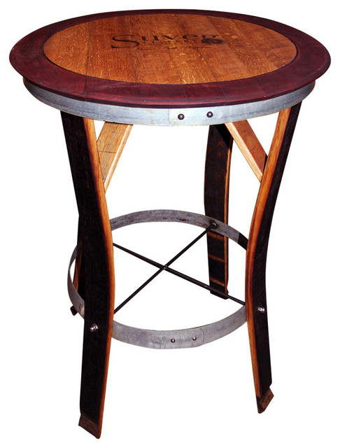 Wondrous Wine Barrel Table With Red Trim Staves Out Tall Download Free Architecture Designs Scobabritishbridgeorg