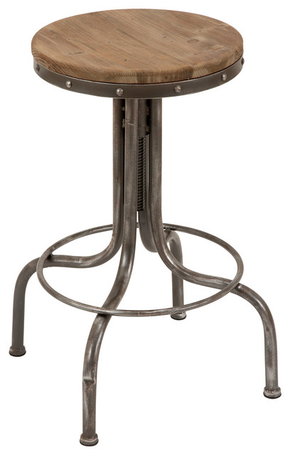 Bar Stool Round Brown Wood Top 4 Legged Metal Base Home Kitchen Decor