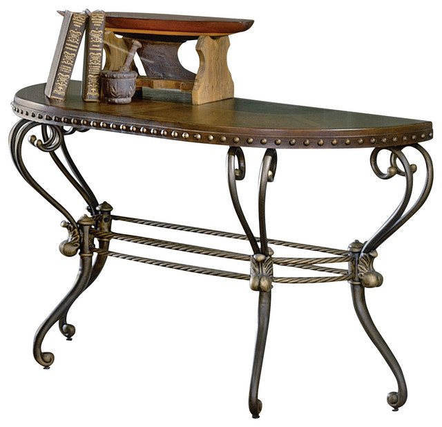 Homelegance Copeland Half Moon Sofa Table With Metal Base Traditional  Console Tables