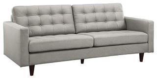 Modern Contemporary Upholstered Sofa, Light Gray Fabric