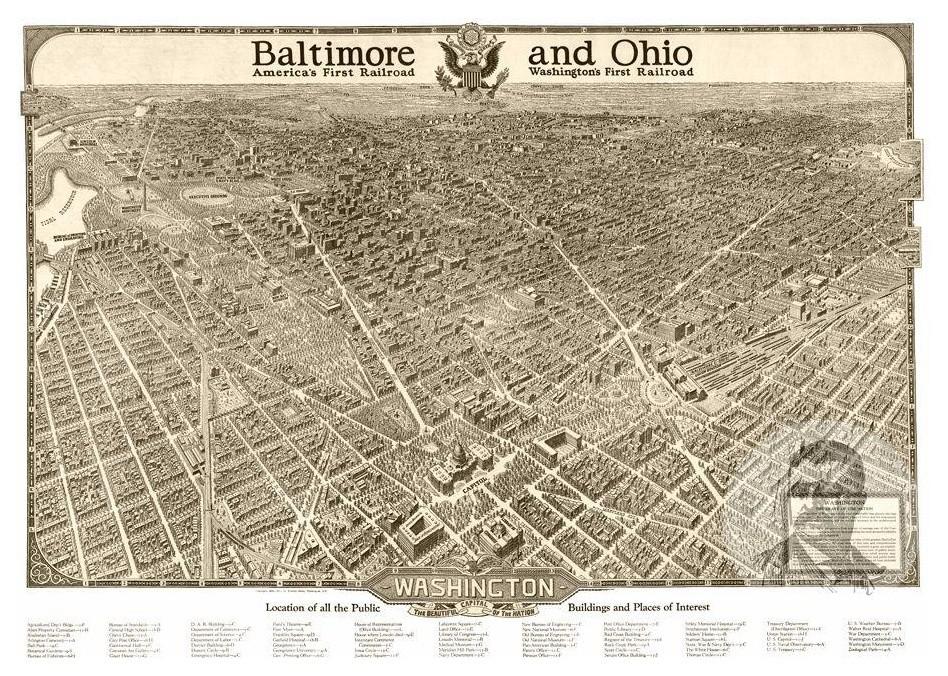 Historic Washington, DC Map 1923, Vintage D.C. Art Print, 12