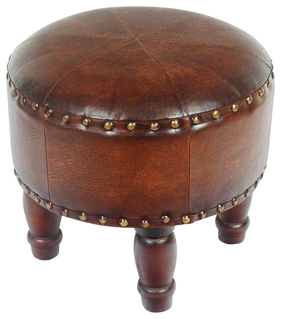 Faux Leather Small Brown Ottoman Traditional