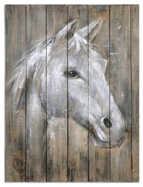 Rustic Reclaimed Wood Horse Wall Art & Rustic Reclaimed Wood Horse Wall Art - Farmhouse - Paintings - by My ...