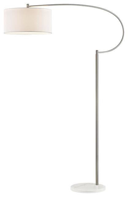 Whitecrane 1-Light Floor Lamp, Satin Nickel And White.