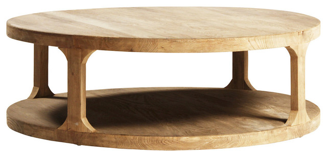 """Bleached Elm Round Table, 48""""x48""""x15.5"""""""