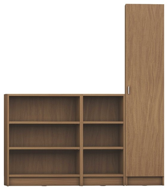 3 Piece Bookcase 12 Wide And Narrow Shelves With 1 Door Maple Cream Contemporary Bookcases By Virventures