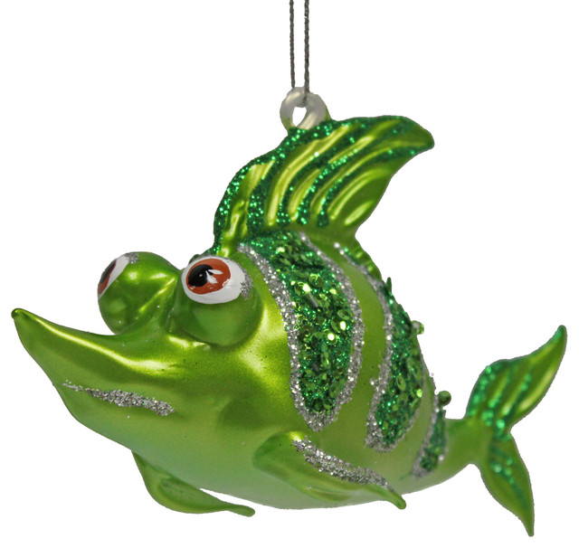tropical ocean reef fish christmas ornament orange - Beach Style Christmas Decorations