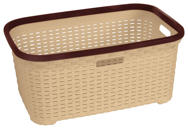 Rattan 1.4 Bushel Laundry Basket With Beige Base And Brown Trim.
