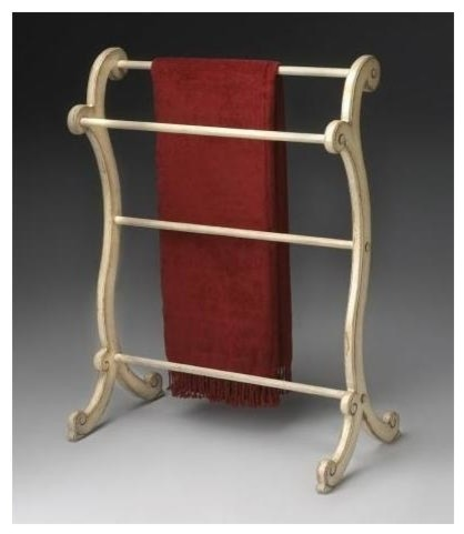 Clothes Blanket Rack In Wood W Cream Finish Traditional And Quilt