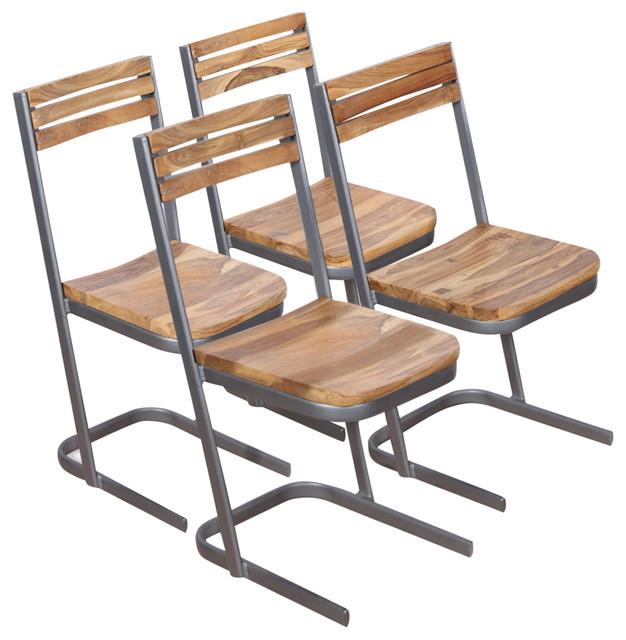 vidaXL Solid Teak Dining Chairs, Set of 4