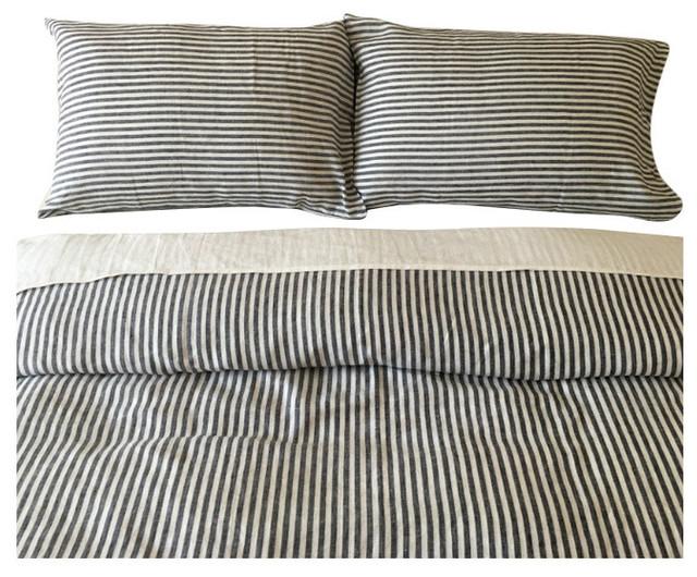 Dark Navy And White Striped Duvet Cover Set Handmade Natural Linen Twin