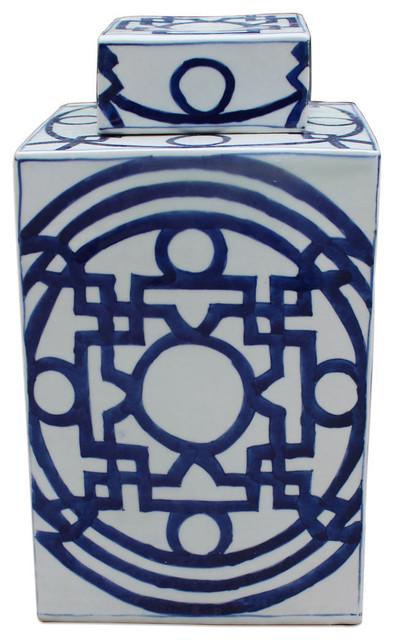 "Blue And White Patterned Porcelain Square Tea Jar Caddie 15""."