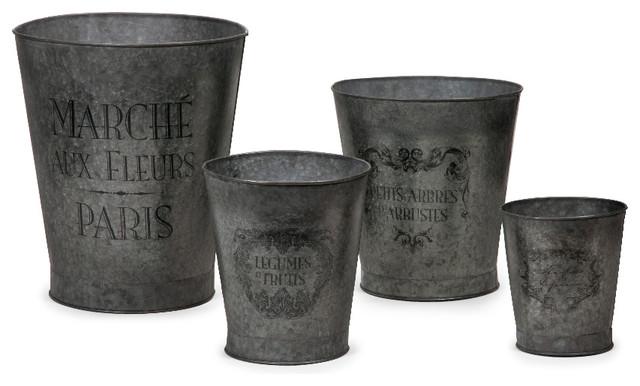French Garden Pots, 4 Piece Set Farmhouse Outdoor Pots And