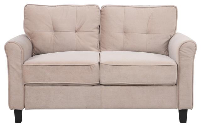 Classic Ultra Comfortable Brush Microfiber Fabric Living Room Sofa Brown