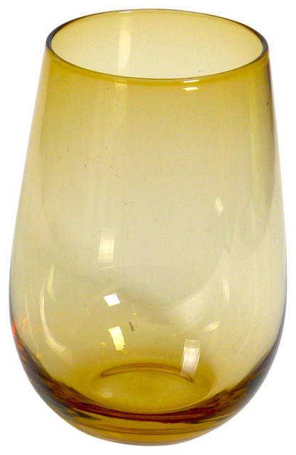 Spiceberry home handblown stemless wine glasses 16 ounce set of 6 reviews houzz - Hand blown stemless wine glasses ...