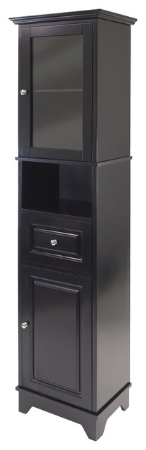 Alps Tall Cabinet With Glass Door And Drawer Transitional Accent Chests And