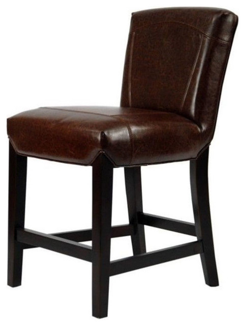 "Safavieh Ken Beech Wood Leather 24"" Counter Stool, Brown"