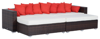 Outsunny 4-Piece Outdoor Patio PE Rattan Wicker Sectional Sofa Furniture Set