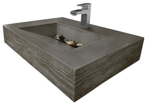 "30"" ADA Floating Concrete Sink Wood Edge, White Linen, ..."