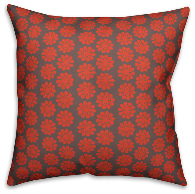 """Red Floral Pattern Throw Pillow, 20""""x20""""."""