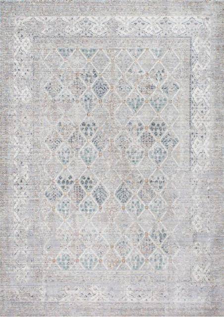 Bali Vintage Diamond Pattern Rug, Gray, 4&x27;x6&x27;.