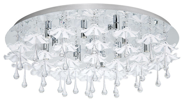 10x40W Ceiling light With Chrome Finish and Flower Crystal Drops