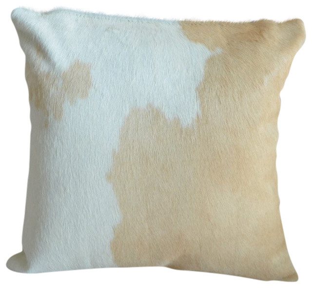 Pergamino Palomino And White Cowhide Pillows, Double Sided.