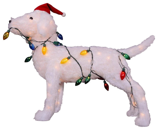 28 5 3 D Standing Decorative Dog Lighted Christmas Outdoor