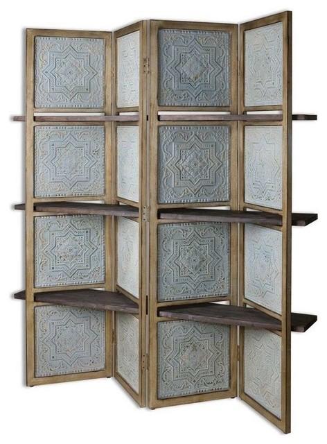 Embossed Moroccan Floor Screen Wood Shelves