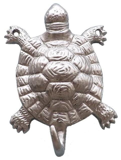 """Brushed Nickel Turtle Hook 6""""."""